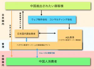 弊社が今後提供するチャイナECパッケージ。ボトルネックを全て解消し、ペガサス香港サーバーを利用することで中国の消費者へ直接アプローチしつつ、日本円にて代金を回収可能。